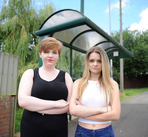 BUS CHARGES: Ysgol Gyfun Gwynllyw pupils Hannah Howells (left) and Charlotte Hyde (right), who face a more expensive journey