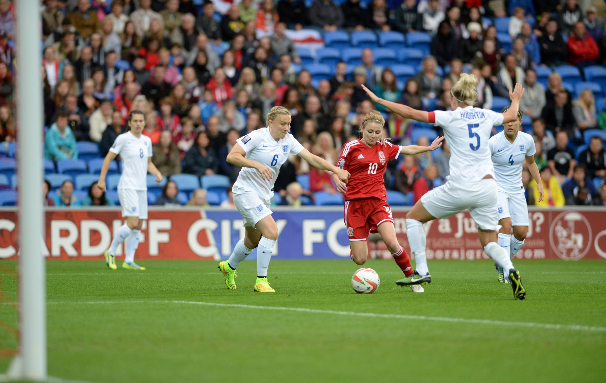 DEFEAT: Sarah Wiltshire goes for goal against England