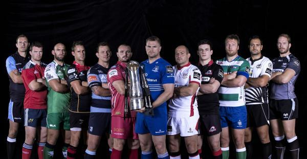 READY FOR BATTLE: Dragons skipper Lee Byrne, fourth from left, at today's PRO12 launch