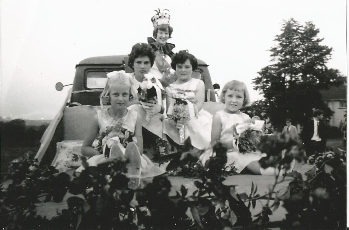 The first Mathern carnival queen, centre, with her attendants in 1964. Organisers are hoping she will be joining in the reunion parade.