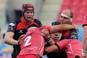 READY FOR BATTLE: Dragons' South African lock Rynard Landman, right