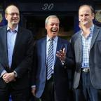Free Press Series: Ukip leader Nigel Farage, centre, and new Ukip MP Douglas Carswell, right, join candidate Mark Reckless on the campaign trail for the upcoming Rochester and Strood by-election