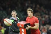 IN CONTENTION: Hallam Amos  warms up with Wales before the autumn Test with South Africa
