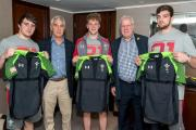 INTERNATIONAL: The Welsh Rugby Union tweeted a picture of Dragons fly-half Angus O'Brien being presented with his jersey by WRU chairman Gareth Davies and president Dennis Gethin, along with fellow new boys Rhodri Williams (left) and Ben Roach (right)