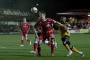 27.03.15 - Accrington Stanley FC v Newport County FC -  Sky Bet League 2 - Aaron O'Connor battles against the Stanley defenders. (21846389)