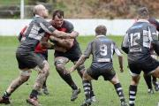 BIG BATTLE: Cross Keys lock Dan Hodge charges into opposite number Phill Rees