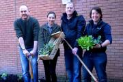 The Incredible Edible scheme are seen having their first dig in Caldicot. Pictured are (l-r),Timm Norville, Gillian Brooks, Aaron Reeks and organiser Kate Edwards. (23567182)
