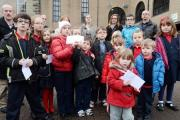 Ysgol Bryn Onnen pupils, along with parents bring their letters to Torfaen Borough Civic Centre, Pontypool, as part of a protest against Varteg opencast mining (2553667)