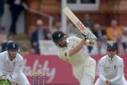 New Zealand's Kane Williamson, centre, finished unbeaten on 92 on day two against England