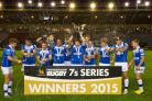 SPECIAL MOMENT: Dragons players celebrate after winning the Singha Premiership Rugby 7s title