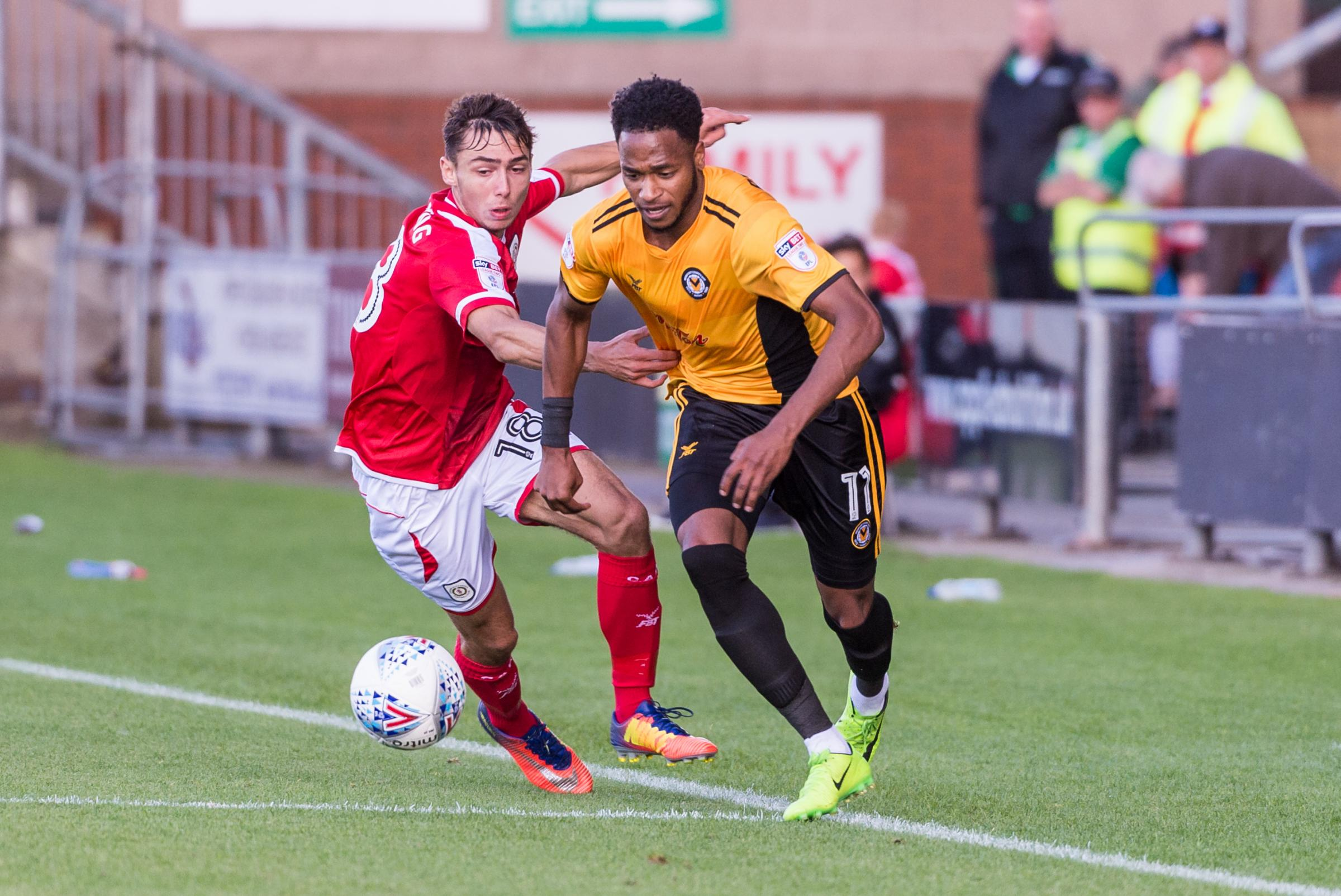 TALENT: Newport County winger Lamar Reynolds in action at Crewe Alexandra earlier this season. Picture: Huw Evans Agency