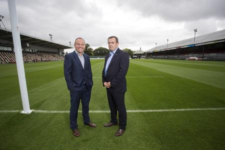 IN TALKS: Dragons chairman David Buttress with WRU chief executive Martyn Phillips