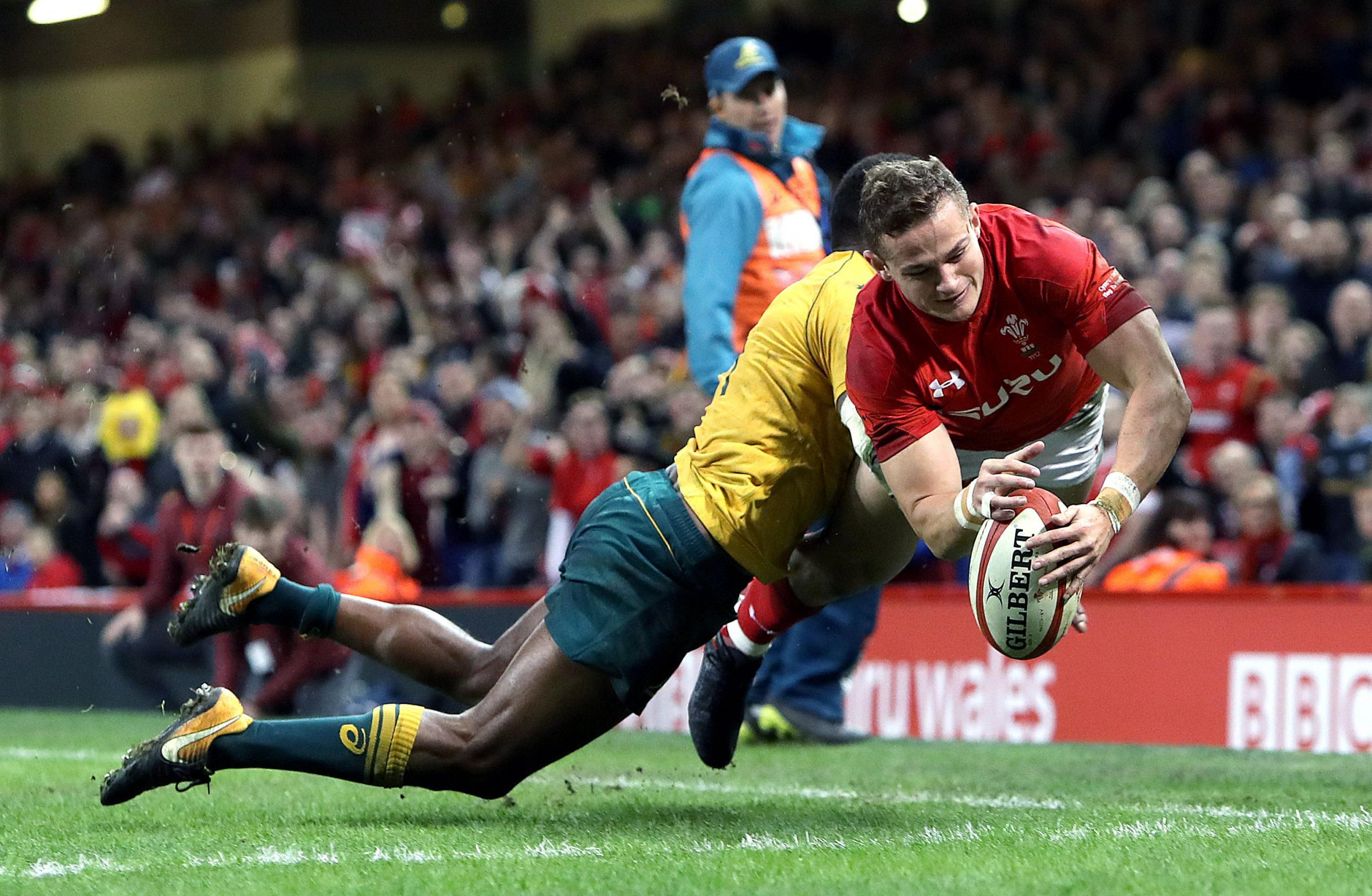 SEVENS CONTENDER: Dragons full-back/wing Hallam Amos, pictured scoring against Australia for Wales, is being considered for the Commonwealth Games