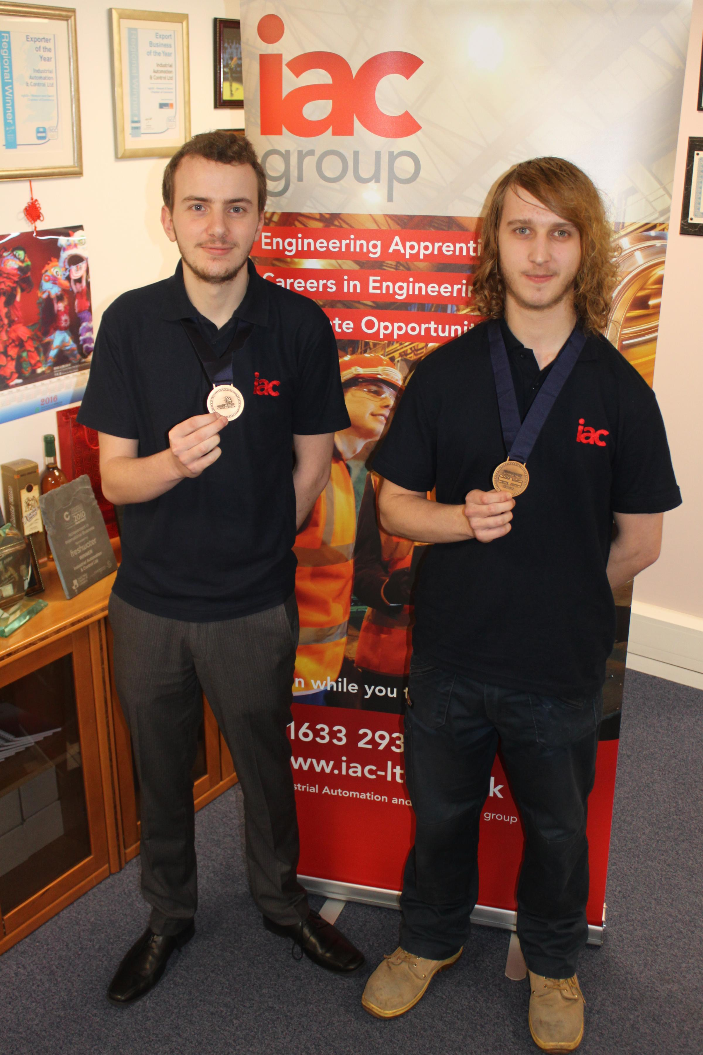 Switched on: Electrical engineering apprentices Alex Smart (left) and Callum Hughes represented Gwent systems control firm IAC at Worldskills UK where they won bronze