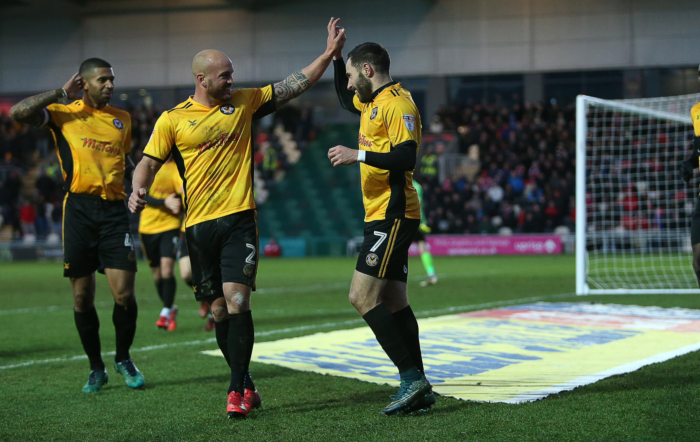 VICTORY: Robbie Willmott's winner against Exeter City kept Newport County in the League Two play-off mix. Picture: Huw Evans Agency