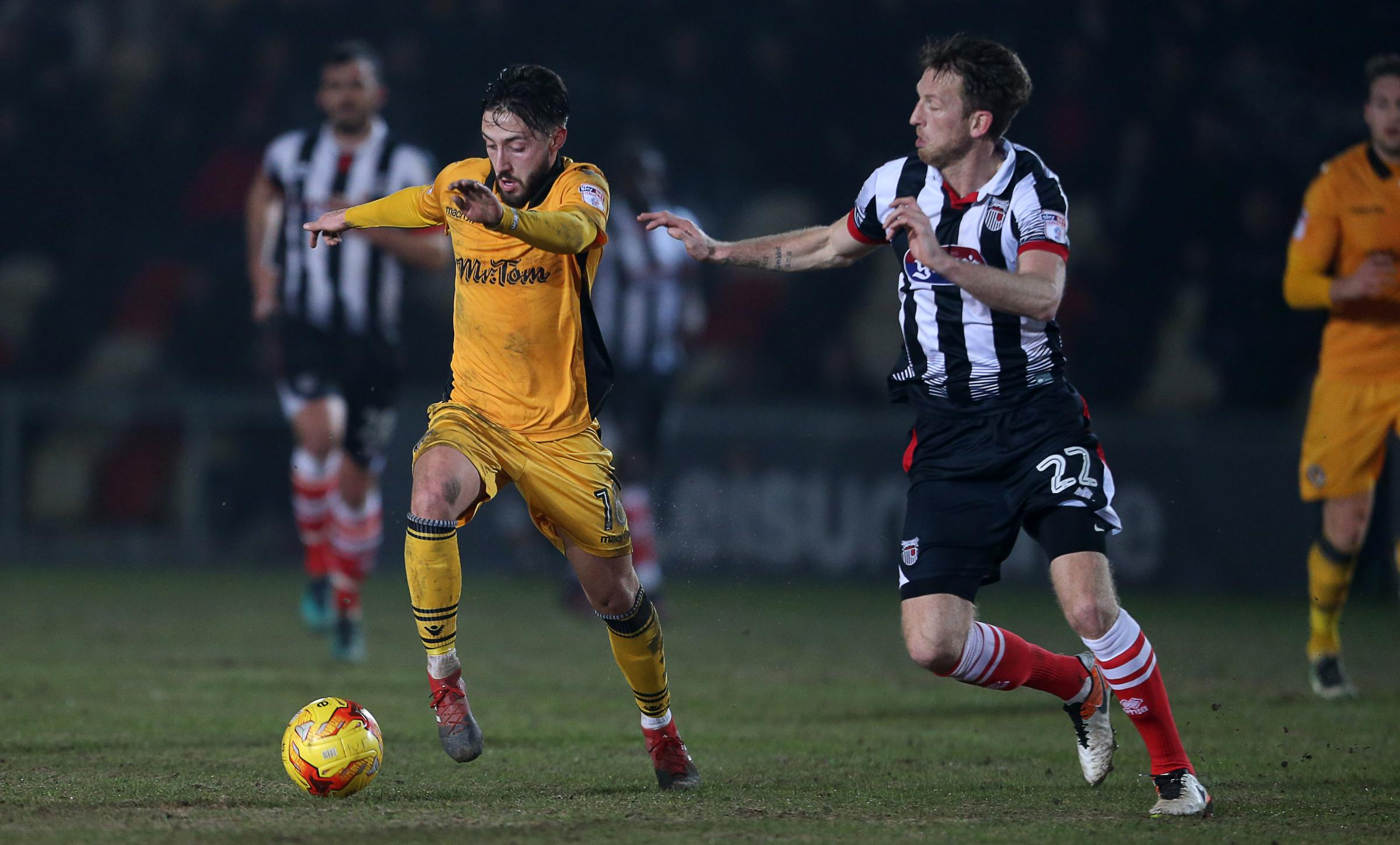 FLASHBACK: Josh Sheehan in action for Newport County against Grimsby Town last season