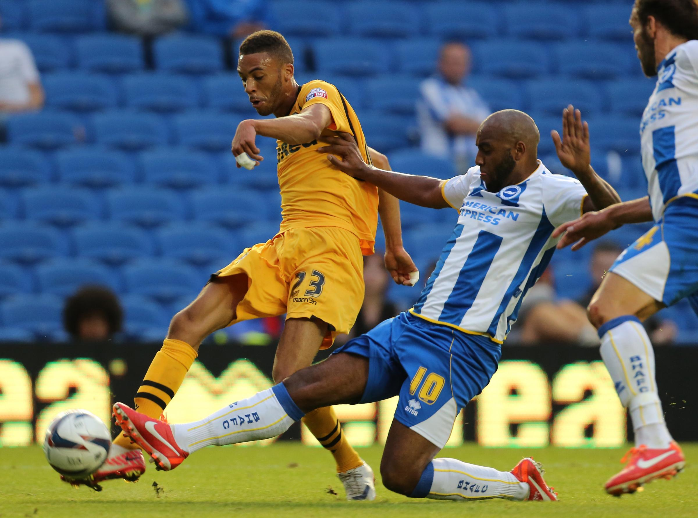 NO DEAL: Kemy Agustien in action for Brighton & Hove Albion against Newport County in the League Cup in 2013
