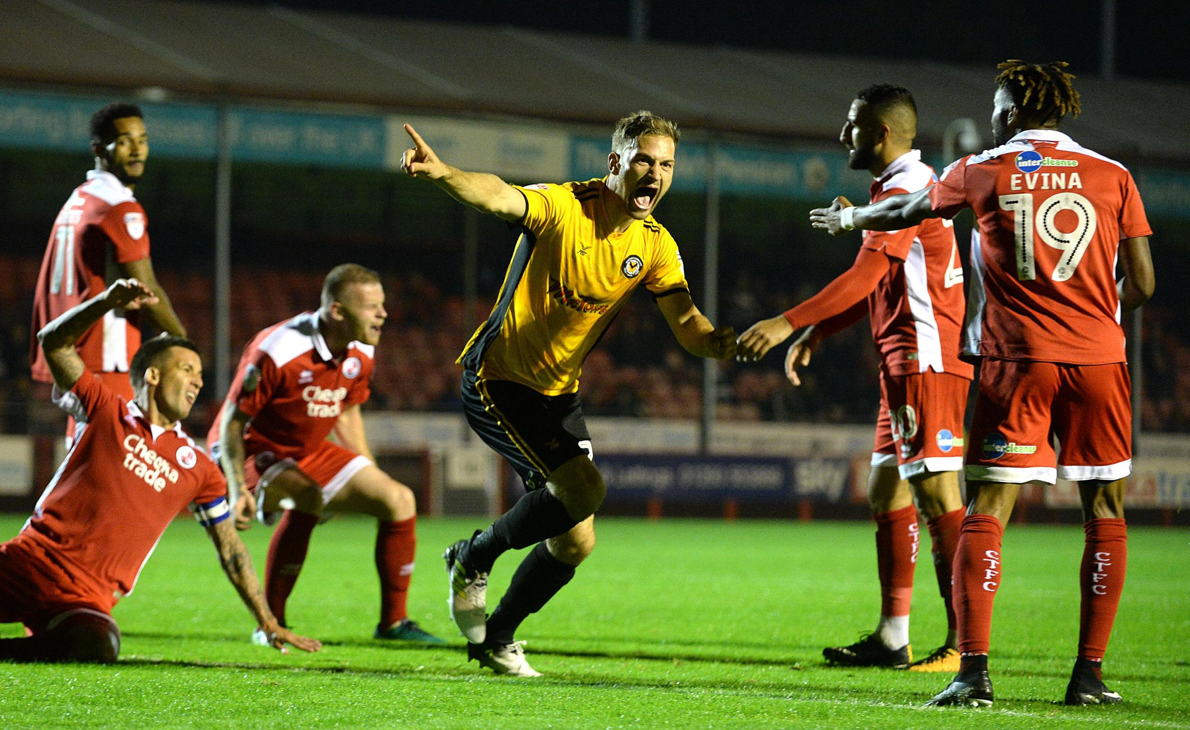 BRACE: Mickey Demetriou scored twice to earn Newport County victory at Crawley Town in September. Pictures: Huw Evans Agency