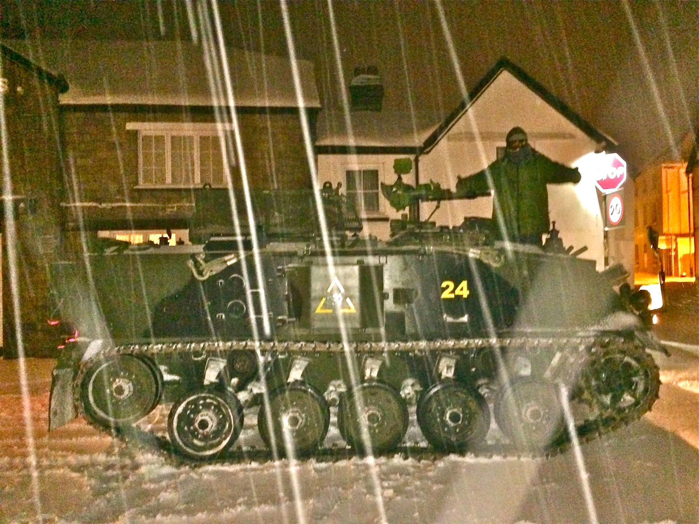 Tank driver turns heads as he takes to the snowy streets of Usk