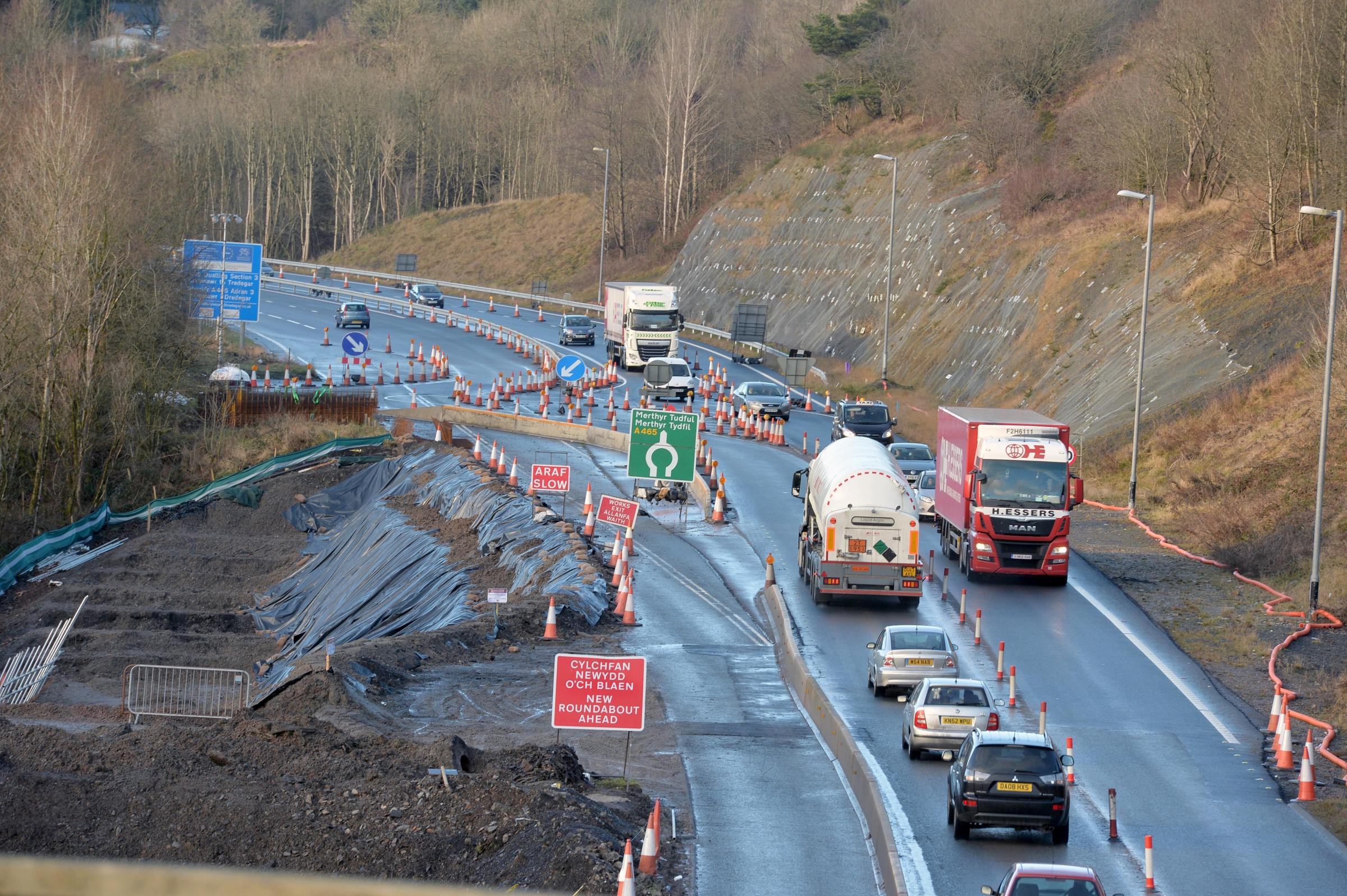 Heads of the valleys road works in Ebbw Vale.