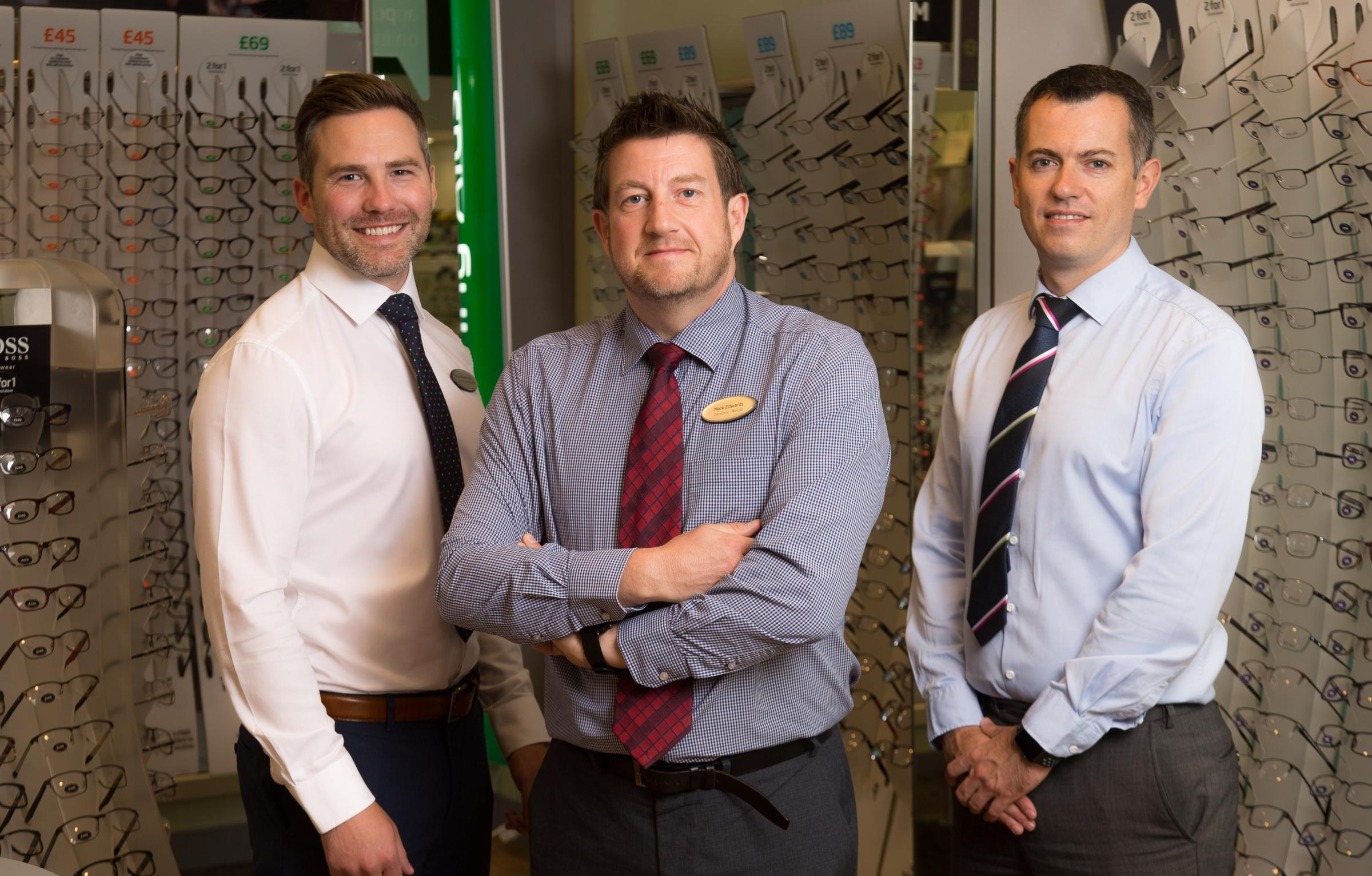 Specsavers Cwmbran directors, left to right, Rhys Williams, Mark Edwards and Gareth Ward