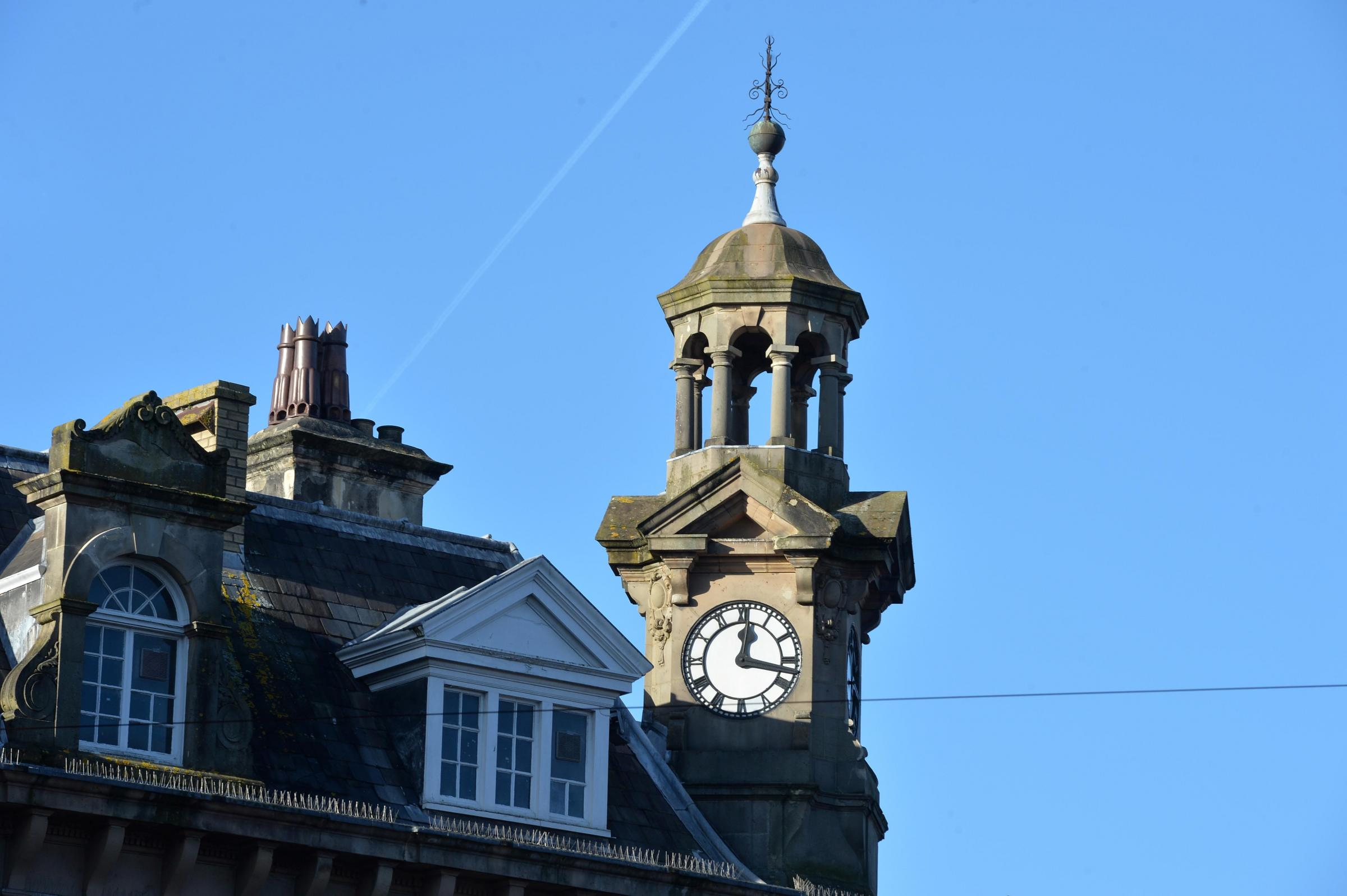 Picture of the day. The clock tower above HSBC in Newport City centre.