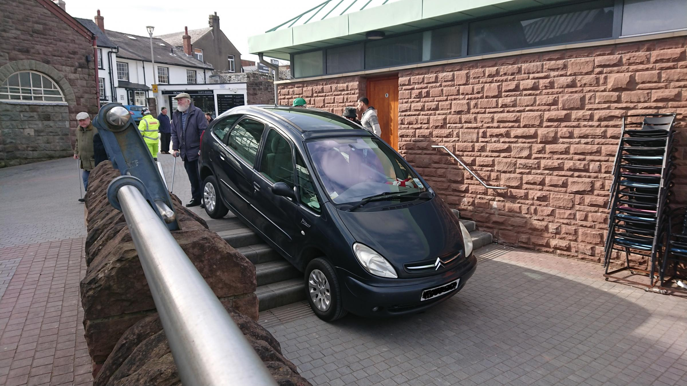 The car ended up in a pedestrian area in Market Street, Abergavenny. Picture: Wayne Gibbon
