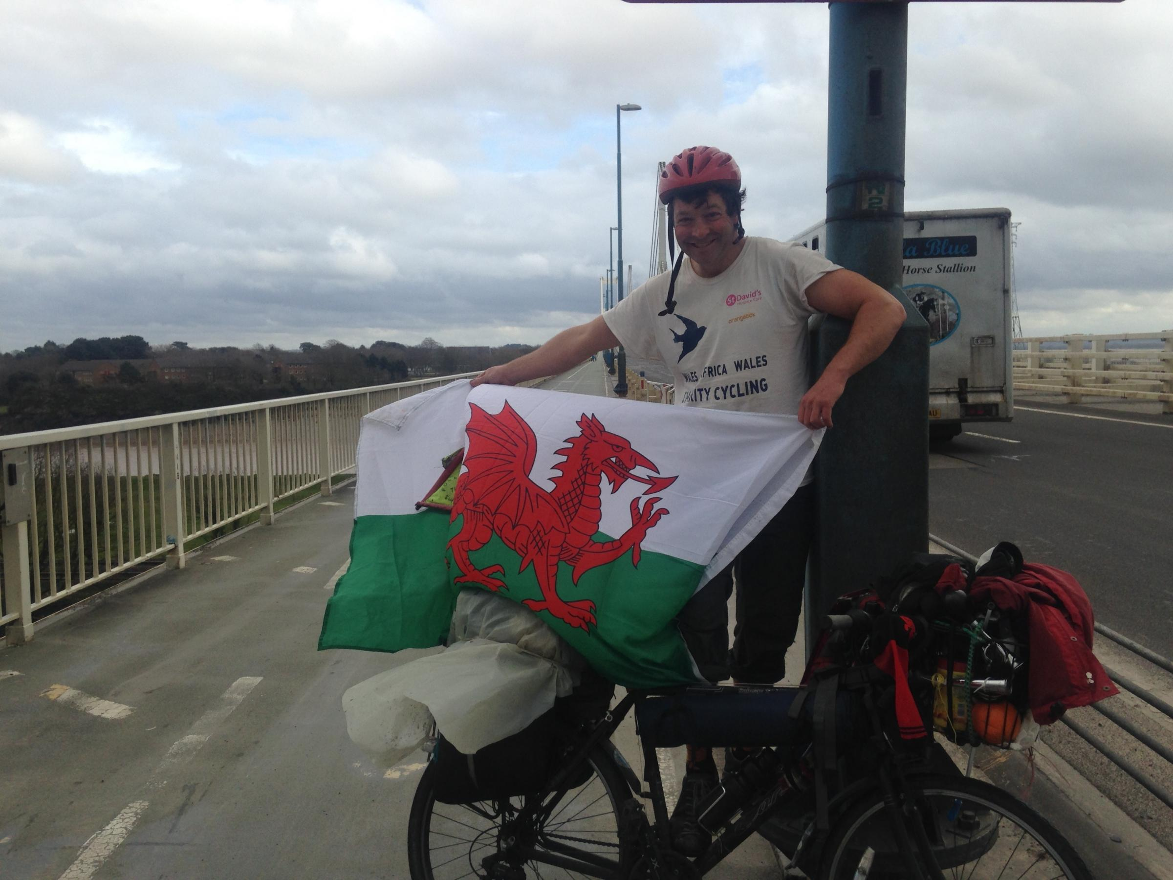 Ed Beverley-Jones crossing the Severn Bridge back to Wales