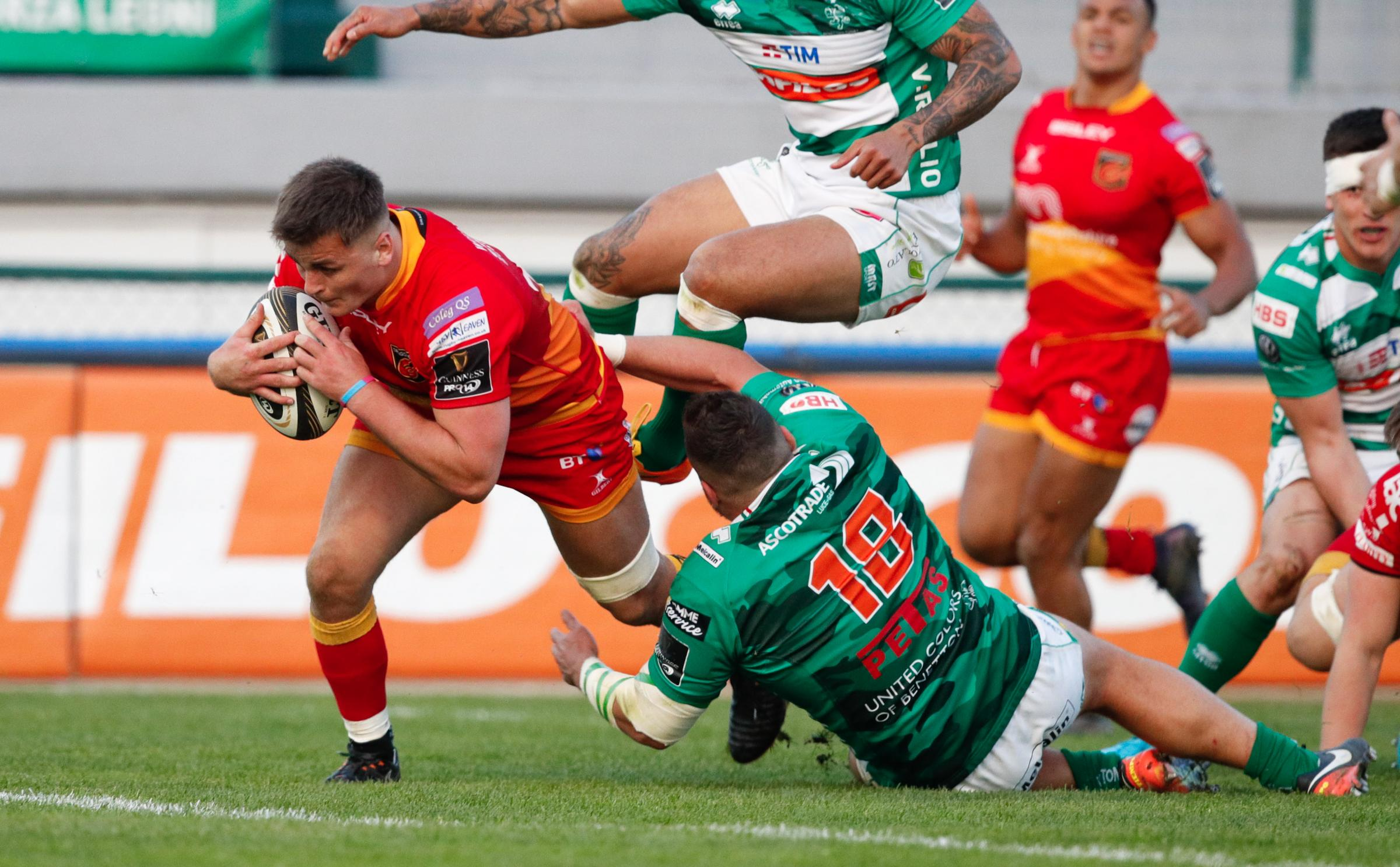 TRY TIME: Connor Edwards scoring for the Dragons in Treviso