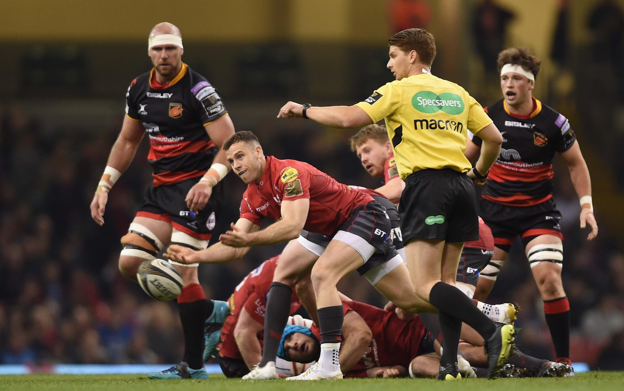 28.04.18 - Dragons v Scarlets - Guinness PRO14 -.Gareth Davies of Scarlets gets the ball away..