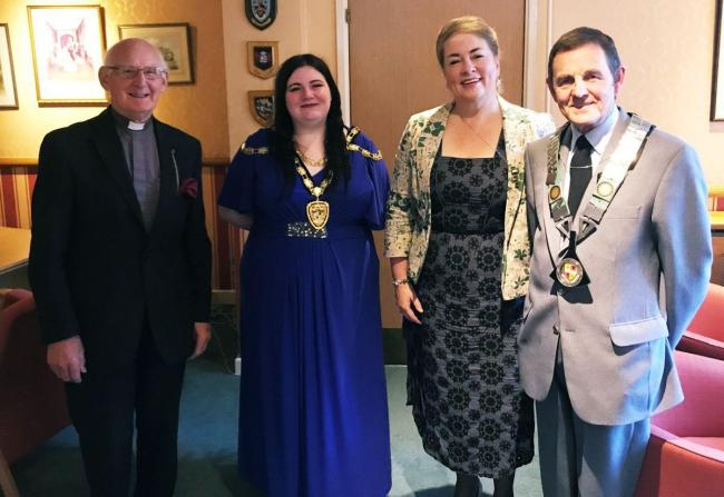 Cllr Jessica Powell with (left to right) chaplain Harald Thomas, chief executive Alison Ward and Cllr Stuart Evans, last year's deputy mayor Picture: Jessica Powell