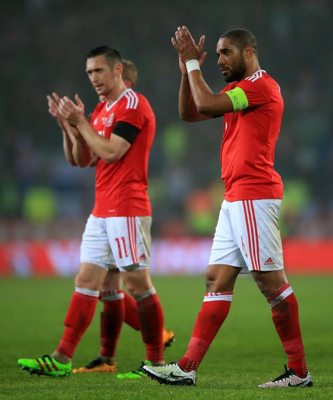 NATIONAL SERVICE: Newport County's Andrew Crofts, left, with Wales captain Ashley Williams in 2016