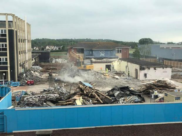 Free Press Series: Parts of Caldicot School's former 'Castle' building being ripped down earlier this year. Pic: Paul Rogers