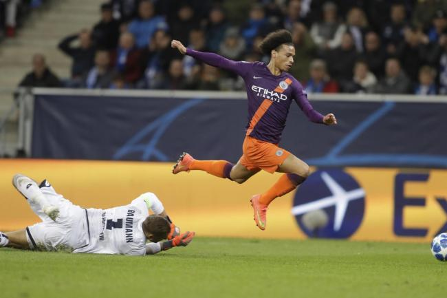 Leroy Sane was denied what looked a clear penalty in Manchester City's win over Hoffenheim (Michael Probst/AP).
