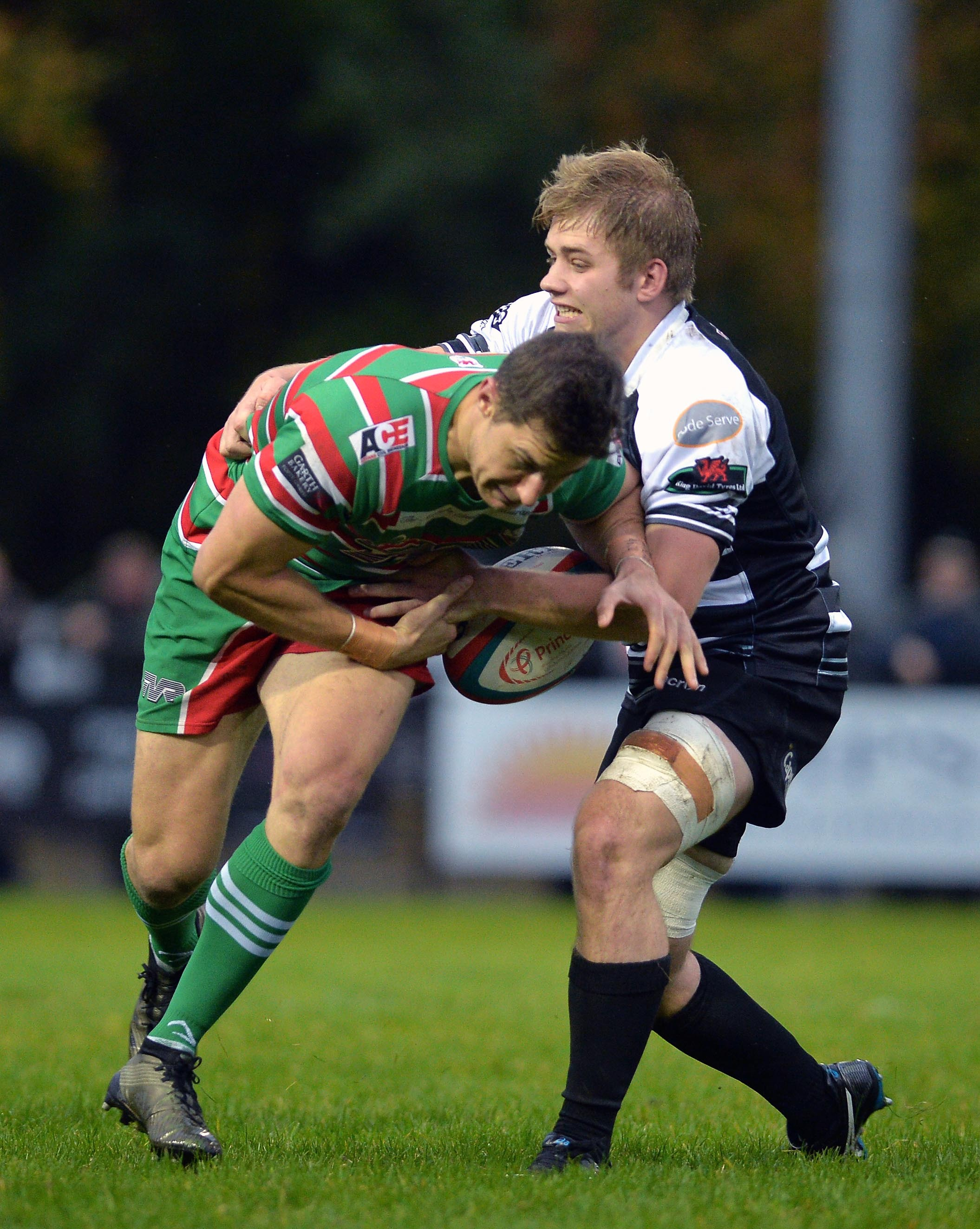 HELD: Ebbw Vale's Carl Meyer is caught by Joe Thomas of Cross Keys. Picture: christinsleyphotography.co.uk