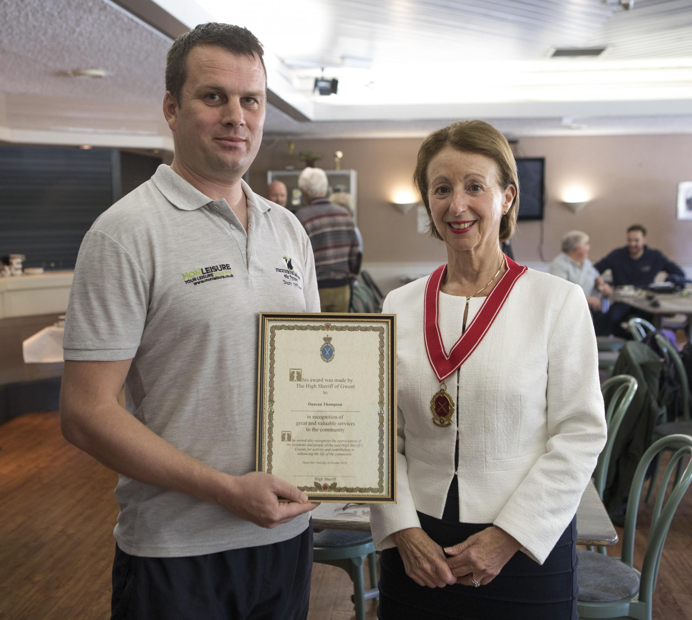Duncan Thompson with the the high sheriff of Gwent, Sharon Linnard Picture: Monmouthshire County Council