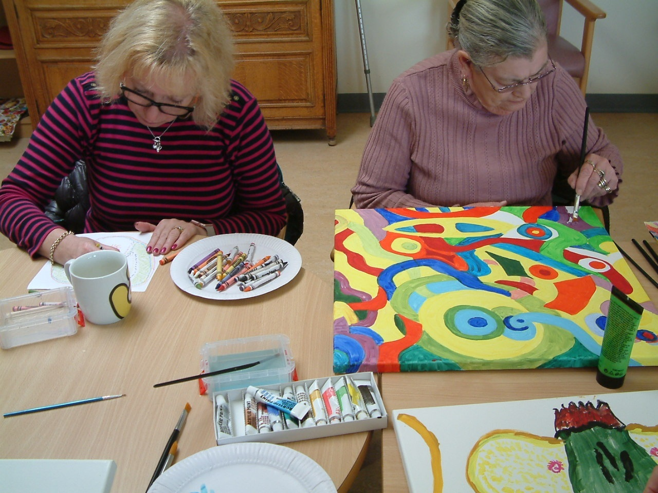 Members of Shaun Ray's musicpainting group in Chepstow