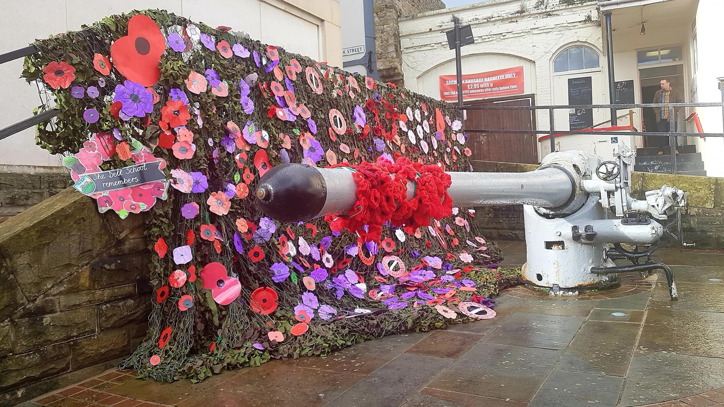 Chepstow residents decorated the town gun for Remembrance Day. Picture: Shari Finch