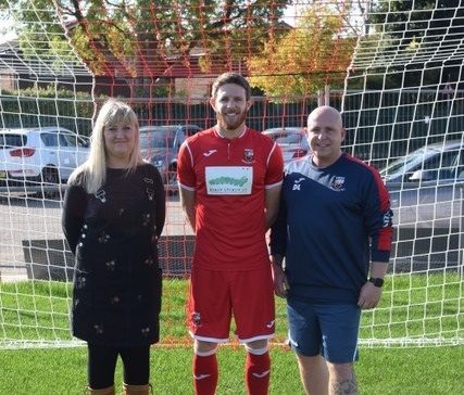 From left, Ready Steady Go boss Tracy Stafford, Undy AFC club captain Chris Parry, and Dave Livermore of A&L Electrical who is also assistant coach at Undy AFC