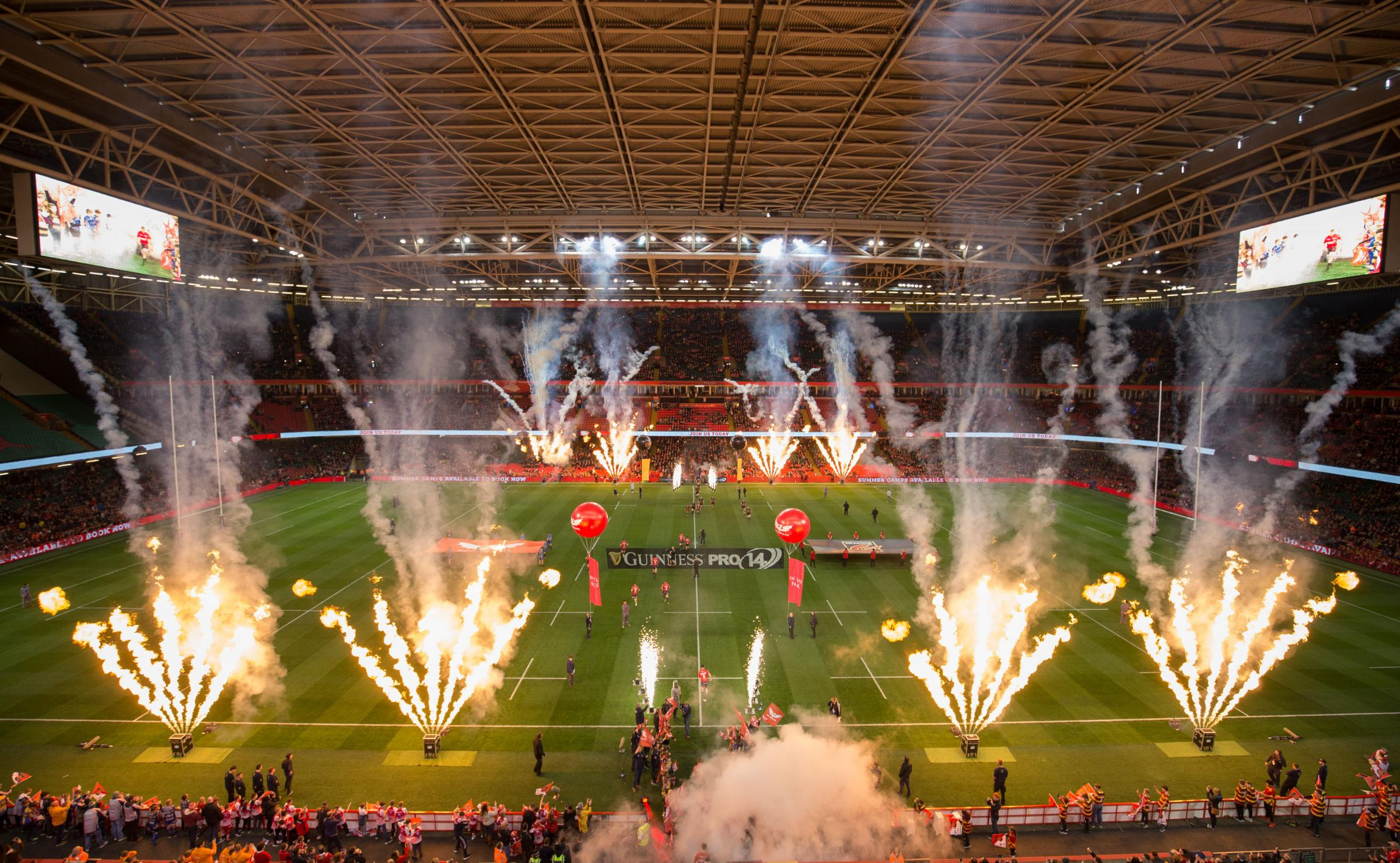 28.04.18 - Dragons v Scarlets, Judgement DAY VI, Guinness PRO14 -  A general view of the Principality Stadium as the Dragons and Scarlets take to the pitch in the first of the Judgement Day VI matches.