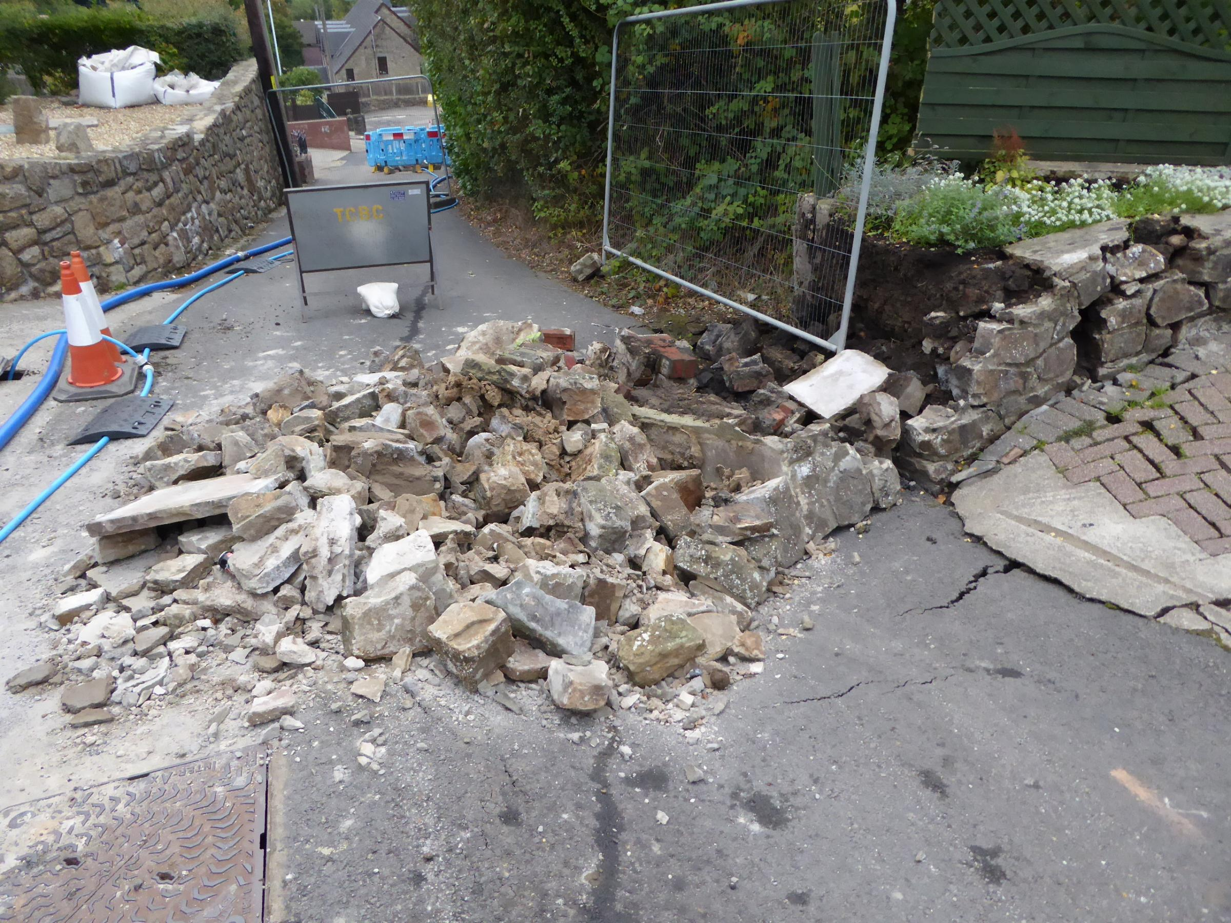 The sinkhole which appeared in Vicarage Lane, Abersychan