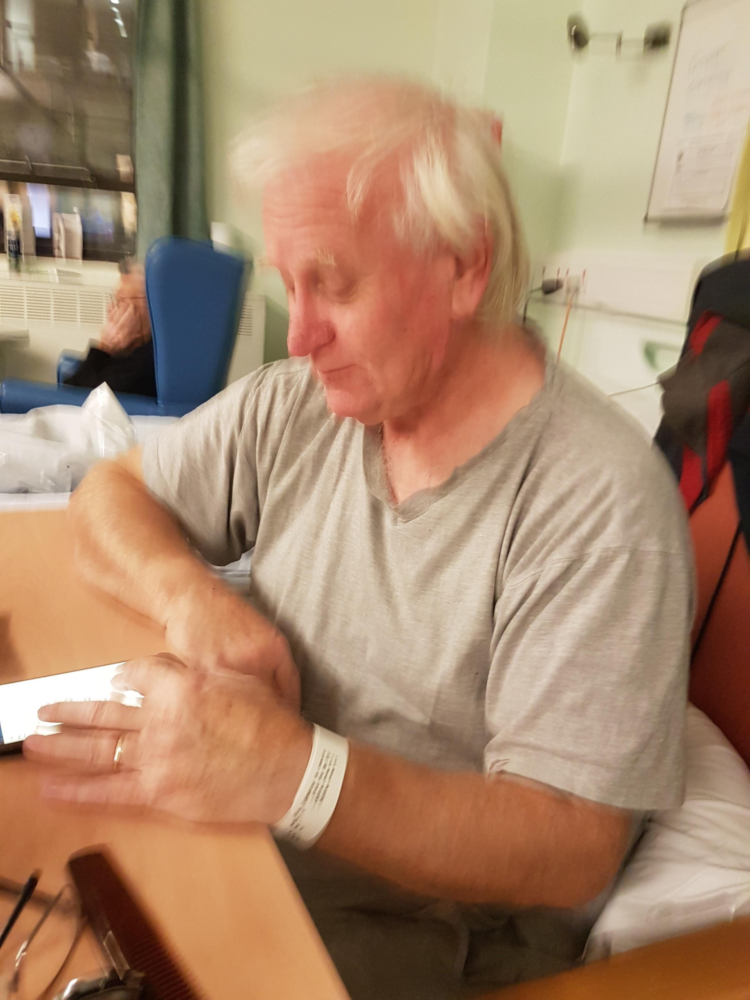 SHOCKED: Robert Murdin, 69, pictured here recovering in St Woolos Hospital after he suffered a stroke. Picture: Nicola Murdin