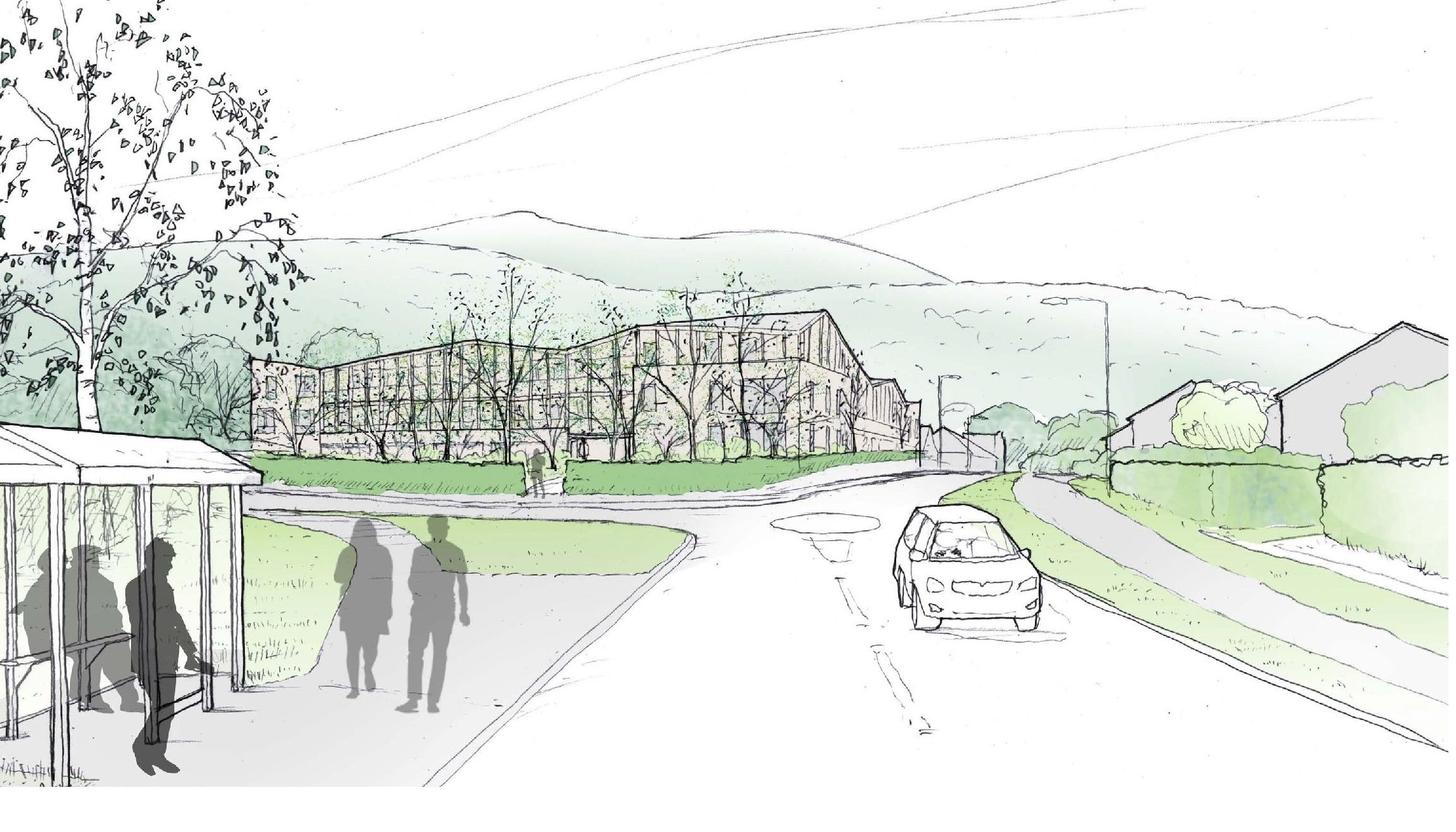 A sketch of the proposals viewed from  Merthyr Road. Picture: CaSA Architects
