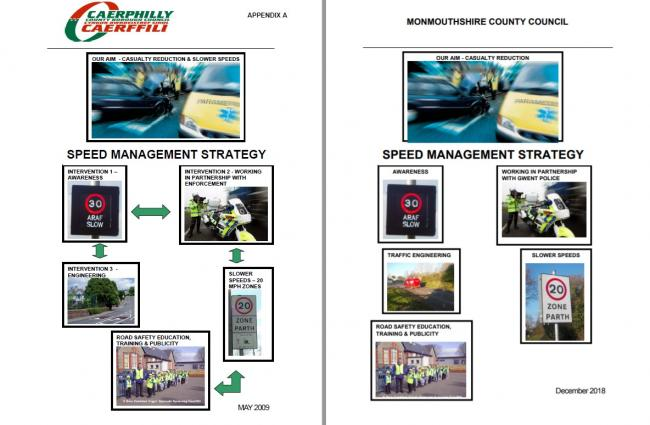 The cover of Caerphilly council's speed management strategy (left) compared to the one produced by Monmouthshire council