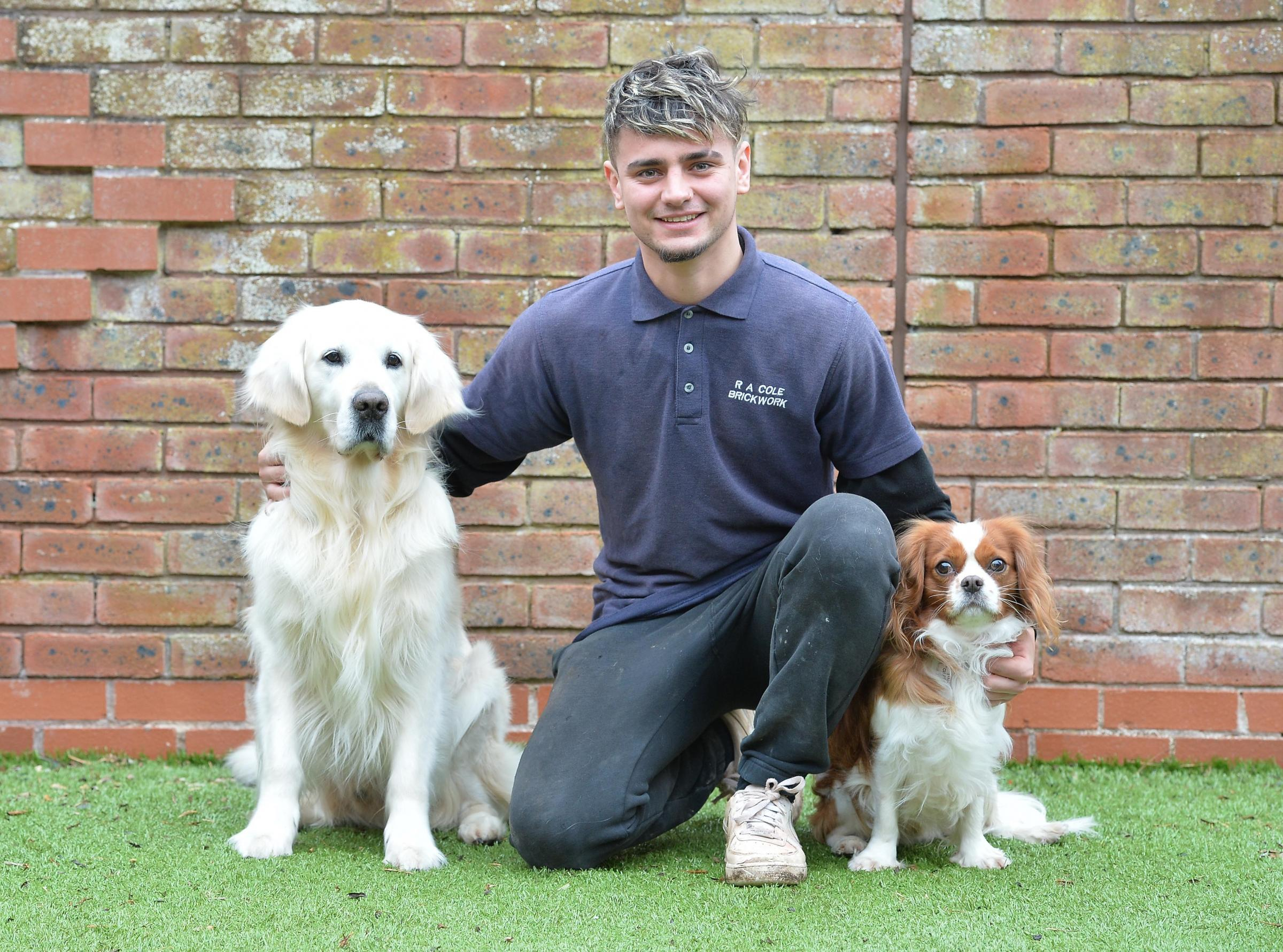 Ryan Cole who rescued Storm (L) and Arthur from a house fire in Caldicot .  