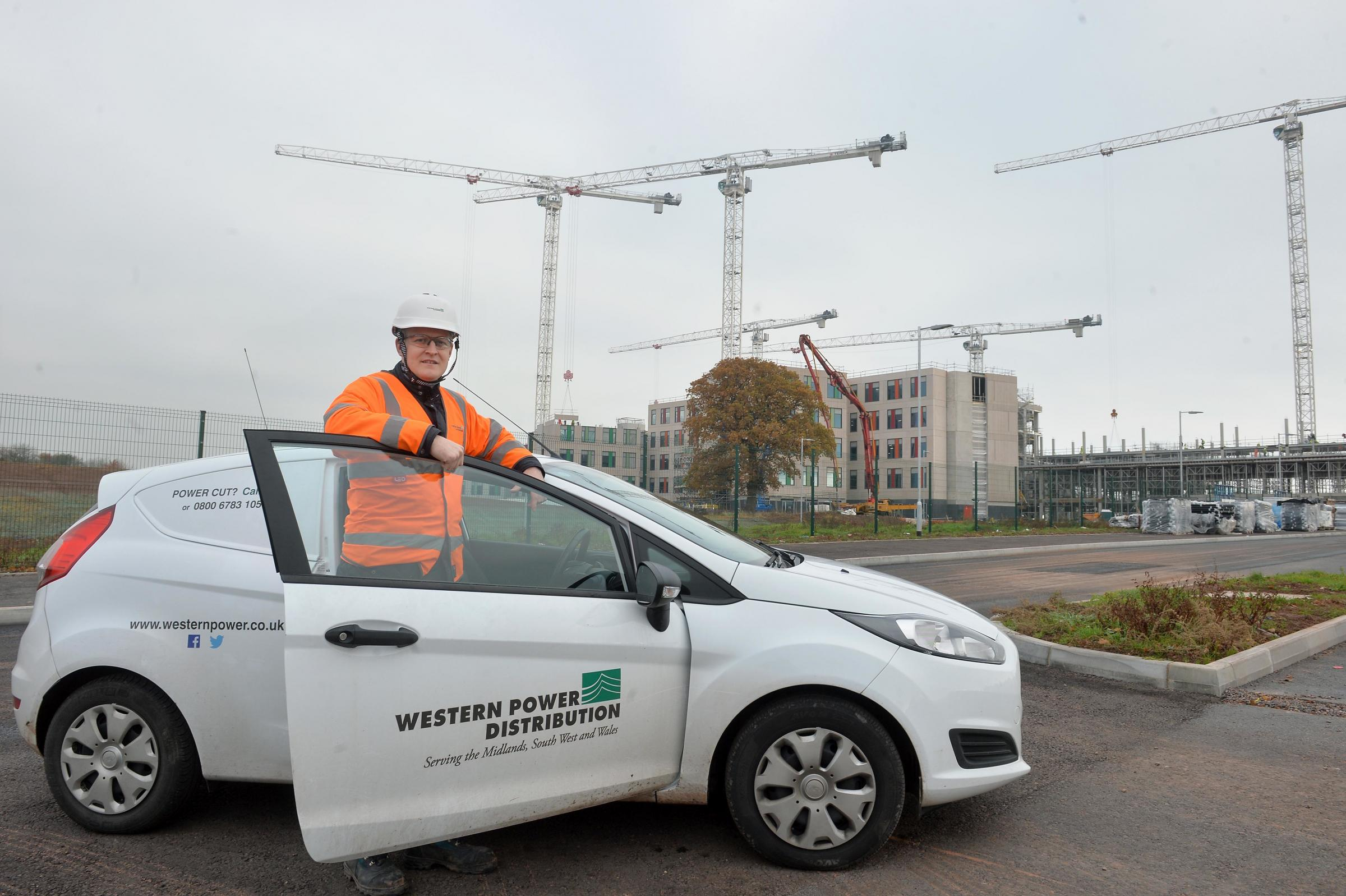WPD Planner Rhys James on the site of the new Grange University Hospital Critical Care Unit that will serve the people of Gwent