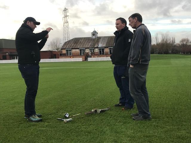 PREPARATIONS: ECB pitch inspector David Bates, Glamorgan head groundsman Robin Saxton and Newport chairman Mike Knight
