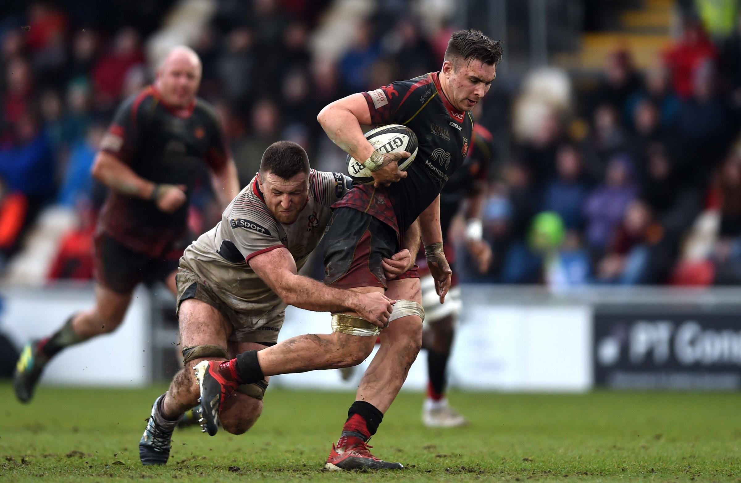 ON THE RUN: Dragons back row forward Taine Basham carrying hard against Ulster