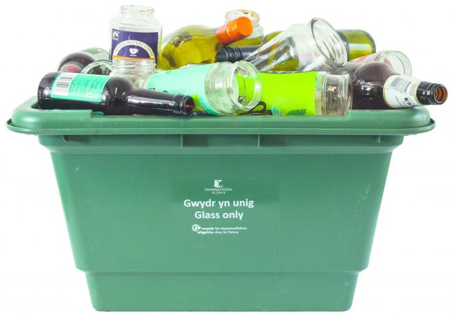 Monmouthshire County Council glass recycling box. Picture: MCC
