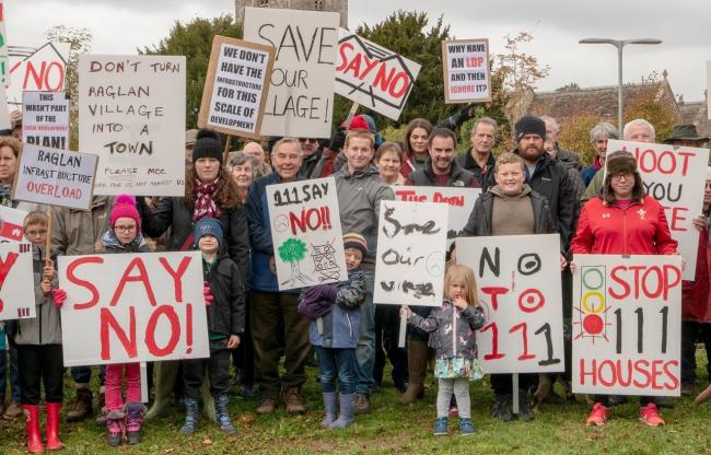 Campaigners protesting against the plans for up to 111 homes in Raglan, October 2018. Picture: Robert Hughes